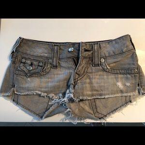 True religion like new cut off jean shorts